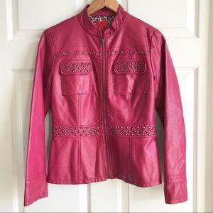 V Cristina Pink Faux Leather Studded Jacket